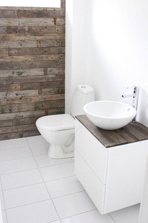 rustic wood and white bathroom