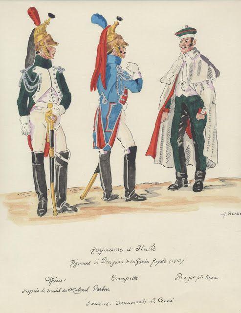 Ufficiale, tromba e dragone del rgt. dragoni della guardia reale del regno d'Italia