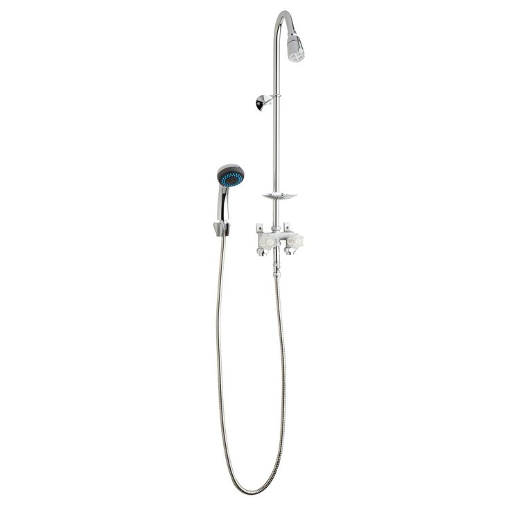 Economy Exposed Outdoor Shower Kit with Hand Shower - Outdoor Showers - Outdoor
