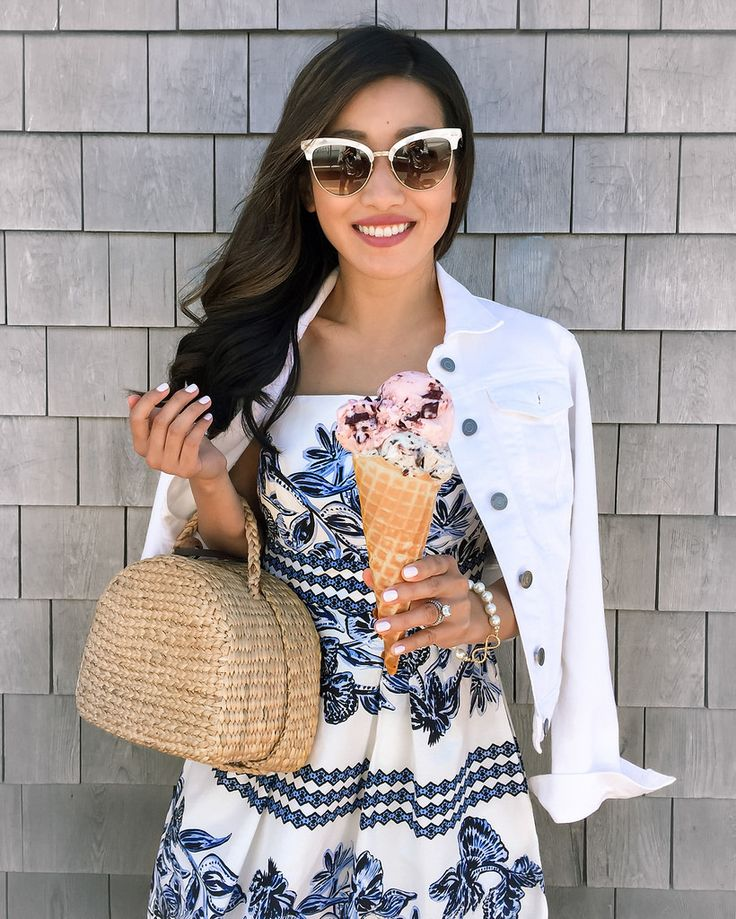 nantucket juice bar ice cream cute sumer blue white dress outfit