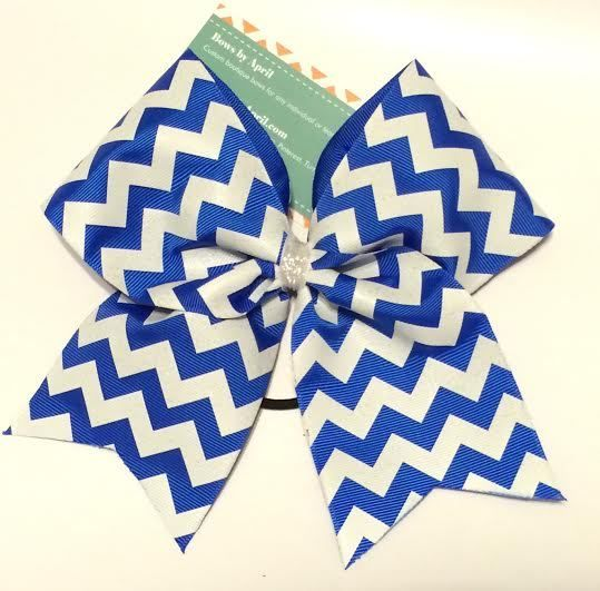 Bows by April - White Chevrons over Royal Blue Cheer Bow, $10.00 (http://www.bowsbyapril.com/white-chevrons-over-royal-blue-cheer-bow/)