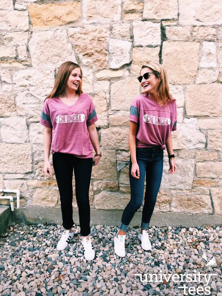 Powder puff tee: for that perfect sideline style #TrendingTuesday  | Chi Omega | Made by University Tees | www.universitytees.com