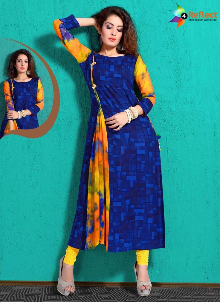 CHARMING NAVY BLUE CHANDERI PARTY WEAR KURTI