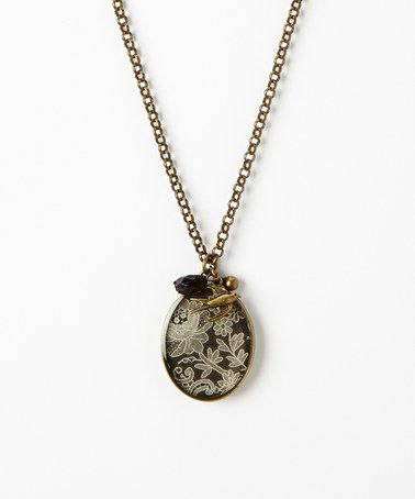 Another great find on #zulily! Black & Gold Patina Lace Overlay Birdie Pendant Necklace #zulilyfinds