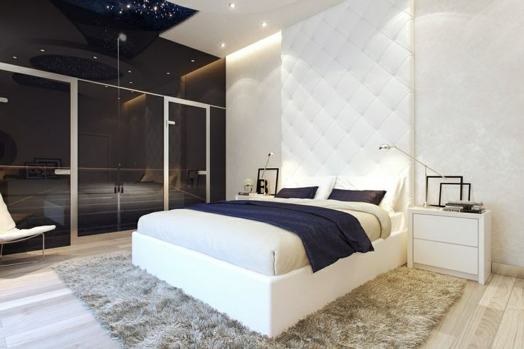 Modern Small Bedroom tufted headboard