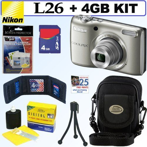 Nikon COOLPIX L26 16.1 MP Digital Camera (Silver) + 4GB Accessory Kit by Nikon. Save 19 Off!. $108.95. Get outstanding image detail with the Coolpix L26 16.1 MP sensor. Frame your shot with a 5x optical Zoom-NIKKOR glass lens. Record HD (720p) movies and share the good times on the large 3.0-inch LCD monitor.  Let the camera do the thinking:  Practical settings. Extraordinary results. Keep it simple. Let Easy Auto Mode automatically select the best camera settings for the most freque...