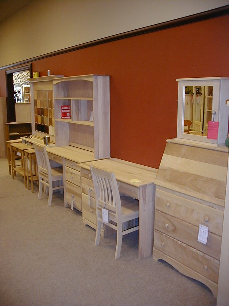 Unpainted furniture from Simply wood.  http://www.simplywood.com/