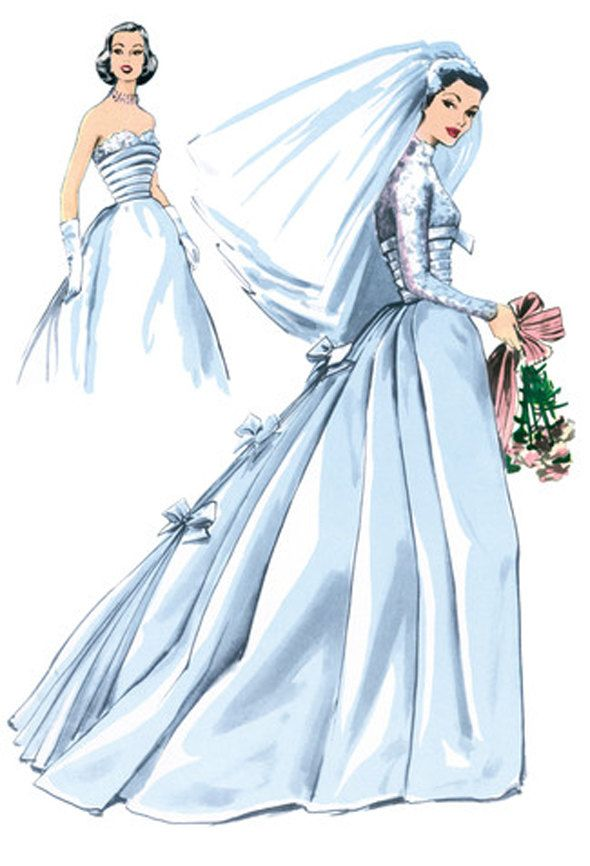 1950s WEDDING DRESS PATTERN Old Hollywood Style Strapless Bridal Gown Cropped Bolero Jacket Burda 7251 Reissue UNCuT Womens Sewing Patterns by DesignRewindFashions on Etsy