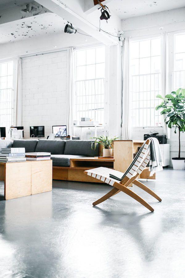 Polished concrete floor. Workspace inspiration: the Everlane studio. Photo Luke beard.