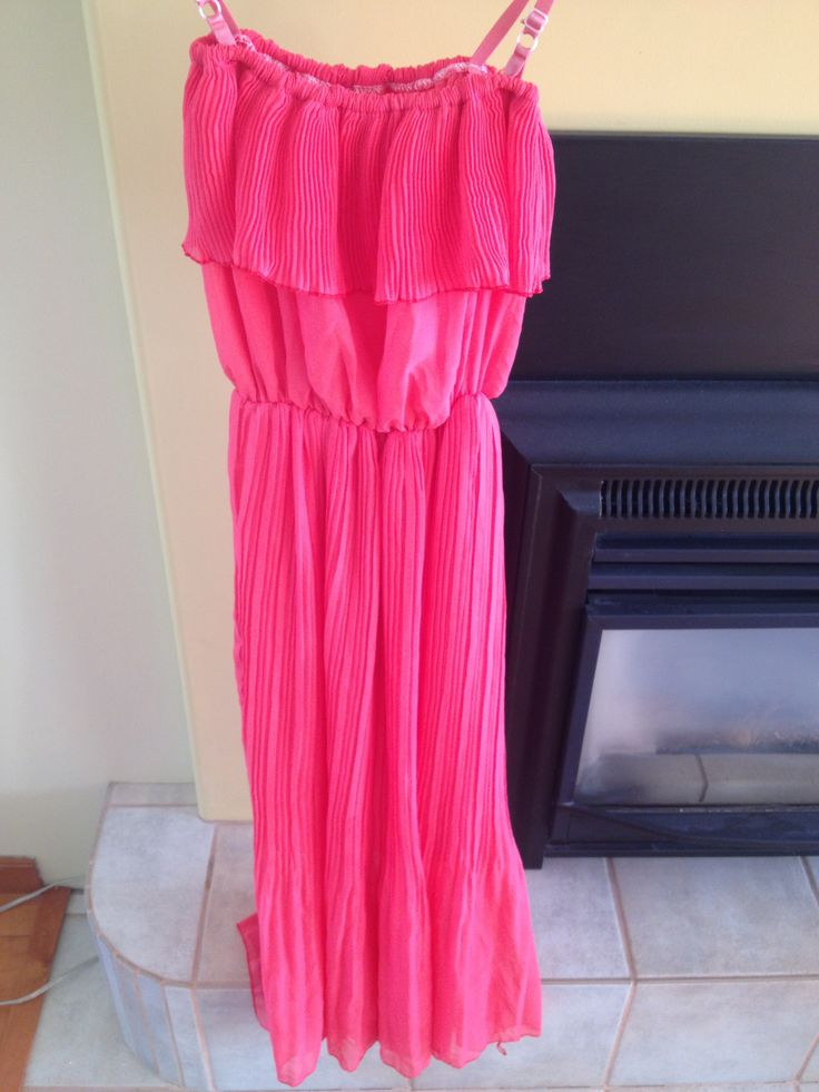 Pink Ruffled Maxi Dress, medium - $15.00 Can also be strappless