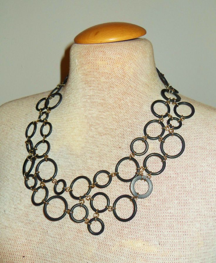 Necklace made from rubber and silver,