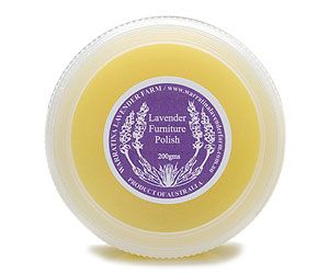 FURNITURE POLISH – 200gm By Warratina Lavender Farm. Beeswax polish suitable for any timbers including antique furniture. Apply with slightly damp cloth & buff up with piece of old toweling. Also wonderful on leather upholstery, shoes, handbags, saddlery. Can be used on stainless steel. Leaves no smears.