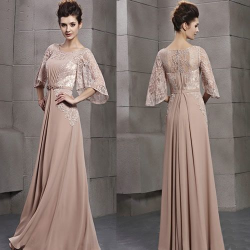 Vintage Style Nude Lace Second Wedding Evening Dresses with Sleeves SKU-122699