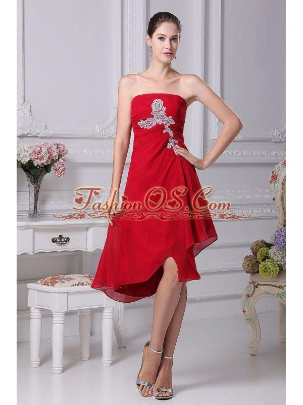 Appliques Decorate Bodice Strapless Chiffon Asymmetrical Wine Red 2013 Prom Dress- $138.48  http://www.fashionos.com  red dress|strapless prom dress