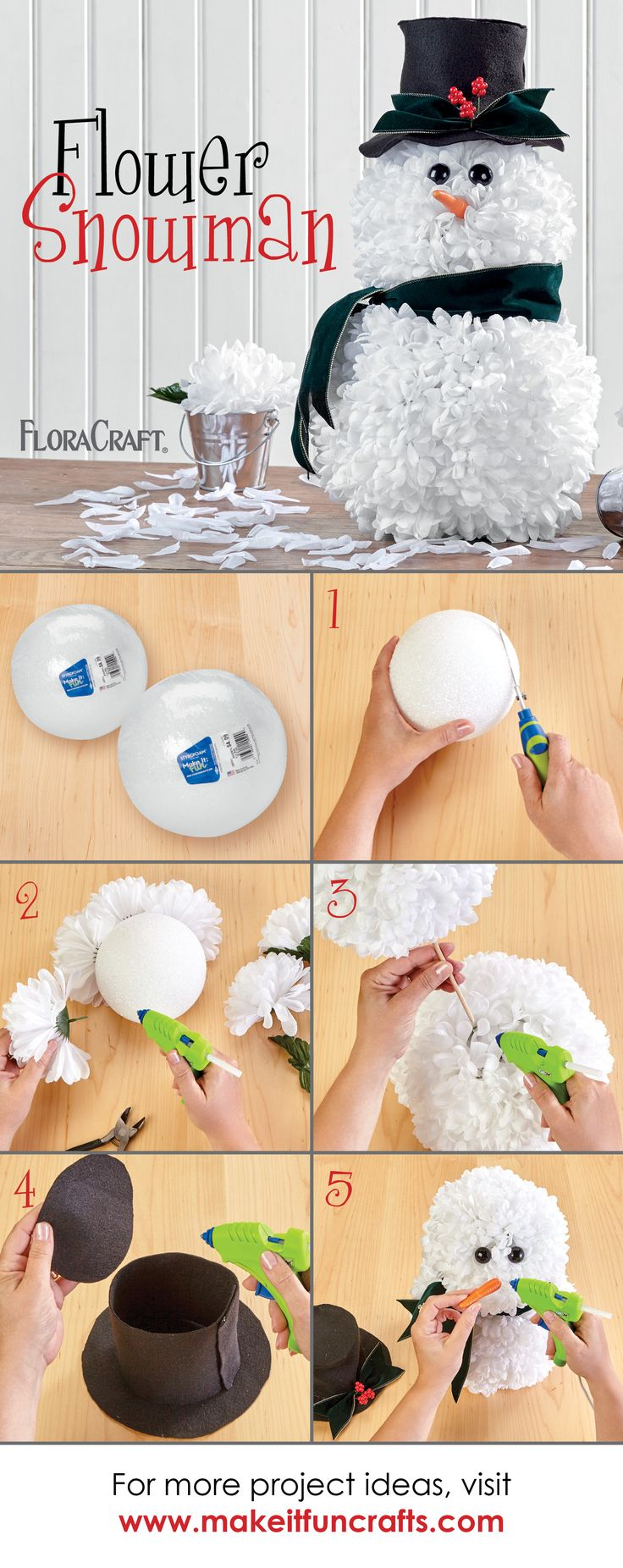 Create this flowered frosty by inserting floral stems into Styrofoam balls and finishing with felt accessories.