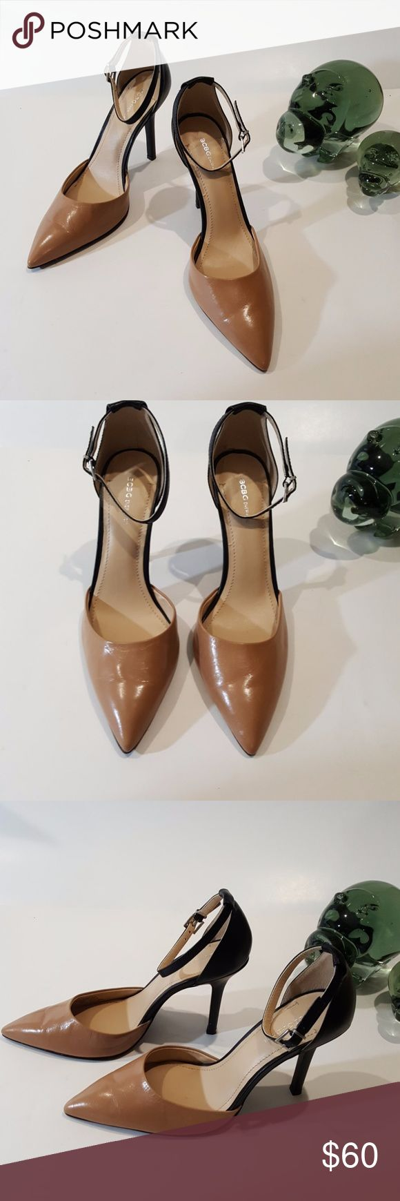 NWOT BCBGeneration Leather Two Tone Heels Size 9.5 BCBGeneration Women's Leather Two Tone Heels Size 9.5 Colour Tan & Black Pointy Toe Tan Colour On Front, Black On Back Adjustable Ankle Strap Heel Height 4.5 Inchs NWOT BCBGeneration Shoes Heels