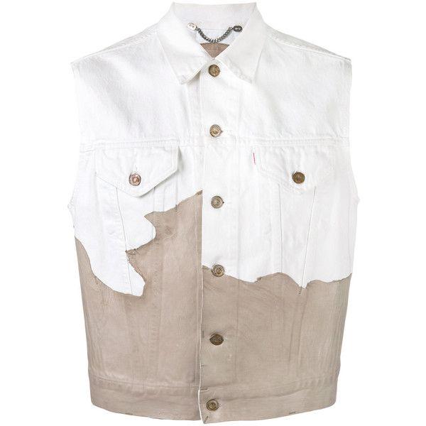 Pihakapi denim gilet (1,023 CAD) ❤ liked on Polyvore featuring men's fashion, men's clothing, men's outerwear, men's vests, white, mens denim vest, mens white denim vest and mens white vest