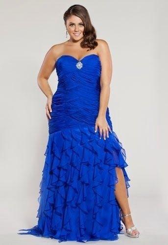 Vestido en color azul eléctrico para madrinas gorditas