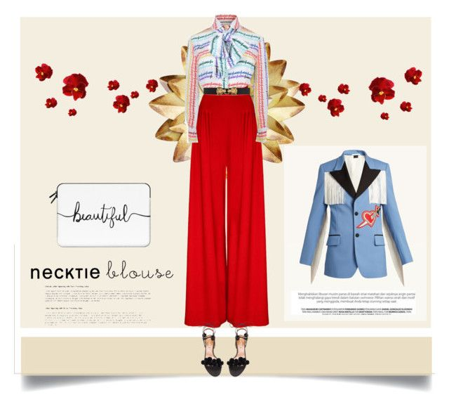 Necktie blouse II by malinkova on Polyvore featuring moda, Gucci, Aquazzura, Casetify, fallfashion and falltrend