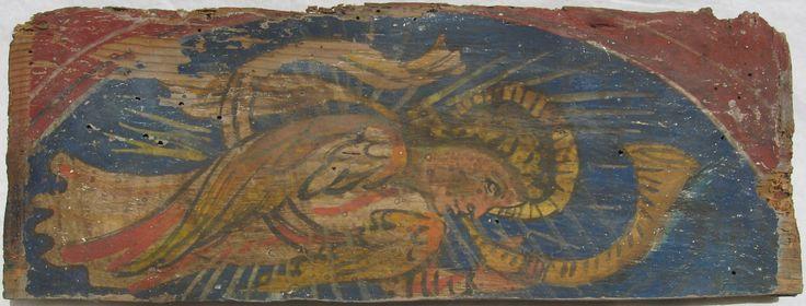 • TAVOLA X bis cm 41 x 15 x 2,5 ANGELO DEL GIUDIZIO All'interno del legno si riscontra la presenza del TARLO VIVO, il retro è crivellato di fori e molti se ne riscontrano anche sulla facciata; un innesto di legno si trova sul retro a sinistra, nel bordo superiore obliquo, e la parte corrispondente davanti è dipinta con lo stesso color rosso della porzione circostante. La pellicola pittorica, stesa quasi sul legno nudo, ha delle vecchie lacune ma sembra essere solida. L'immagine raffigura un…