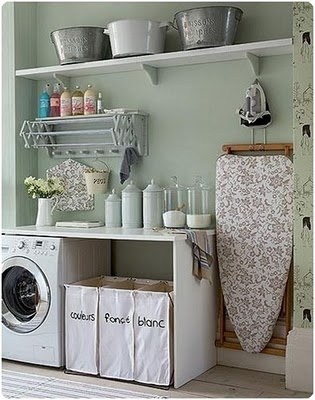 love the storage ideas and the old wash bins on the shelfWall Colors, Organic, Decor Ideas, Dreams, Iron Boards, Laundry Rooms, Room Ideas, House, Laundryroom