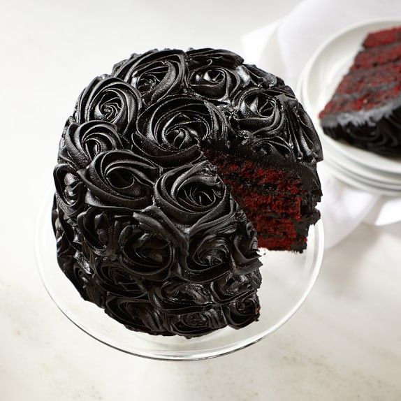 Black Rose Red Velvet Cake - I would NEVER spend $60 on a cake BUT I might try to copy this genius Halloween cake.  Goregous!