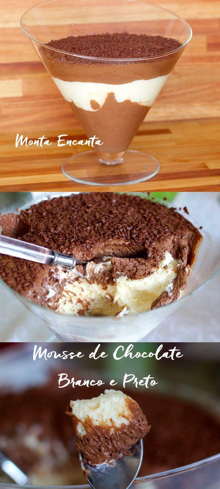Mousse de Chocolate Preto e Branco em tamanho família! Uma sobremesa rapidinha de fazer e incrivelmente deliciosa, Mousse de Chocolate Preto e Branco, não vai ao fogo, nem ao forno. …