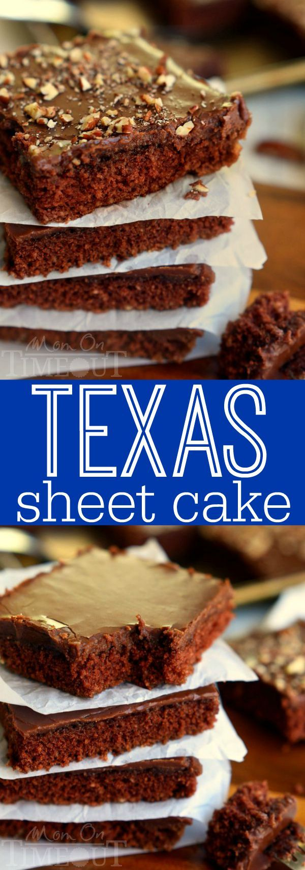 The legendary Texas Sheet Cake is my go-to cake recipe to feed a crowd! Easy as can be, this cake boasts intense chocolate flavor and richness and can be made with or without nuts - dig in! | MomOnTimeout.com | #recipe #dessert