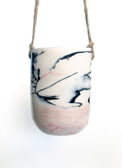 Black and Pink Marbled Planter