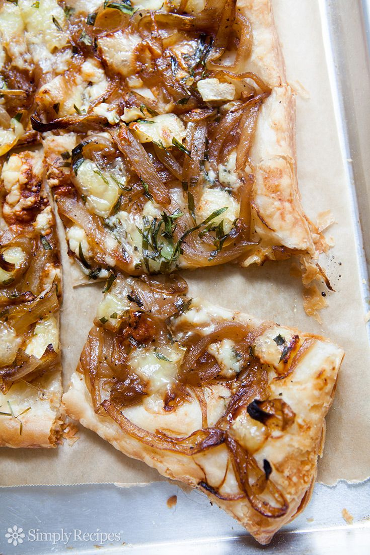 Caramelized Onion Tart with Gorgonzola and Brie ~ Perfect for a #MothersDay brunch! Crispy savory tart made with puff pastry, caramelized onions, and gorgonzola and brie cheeses. ~ SimplyRecipes.com
