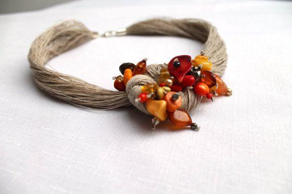 Macrame calzamaglia collana ambra baltica corallo di DreamsFactory
