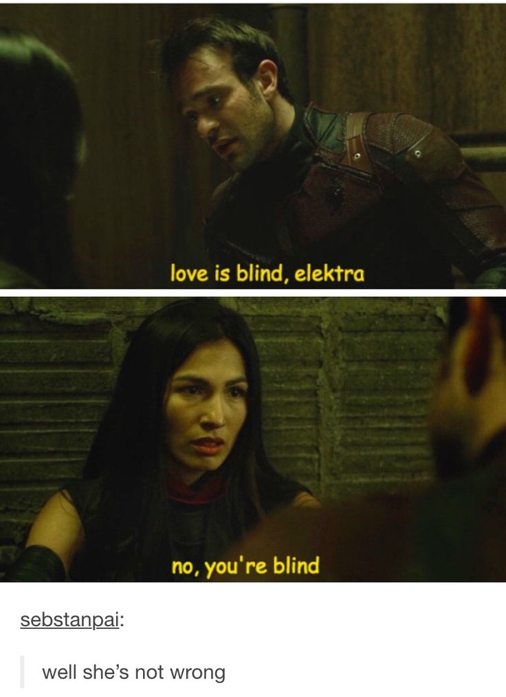 XD you know, I've always loved Electra but hate how she was in Daredevil...