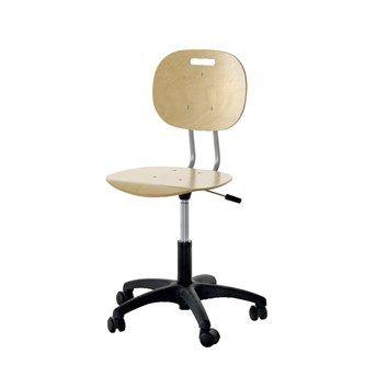 Stol Trine Bøk lav Art.nr: 30641 Stolen henger stabilt på bordkanten. Sete og rygg i bøk. Med kryssfot i svart plast. Med hjul. Sittehøyde 39-51 cm, setedybde 34 cm, bredde 40 cm.