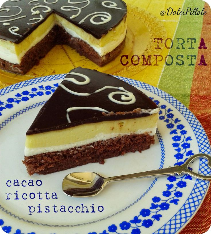 Torta composta al #cacao, ricotta e #pistacchio.  #pistachio, #ricotta cheese, chocolate #cake! #dolcipilloleperilpalato