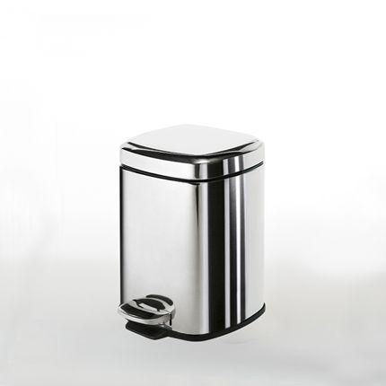 Poubelle salle de bain-wc 3L en inox - Design carré