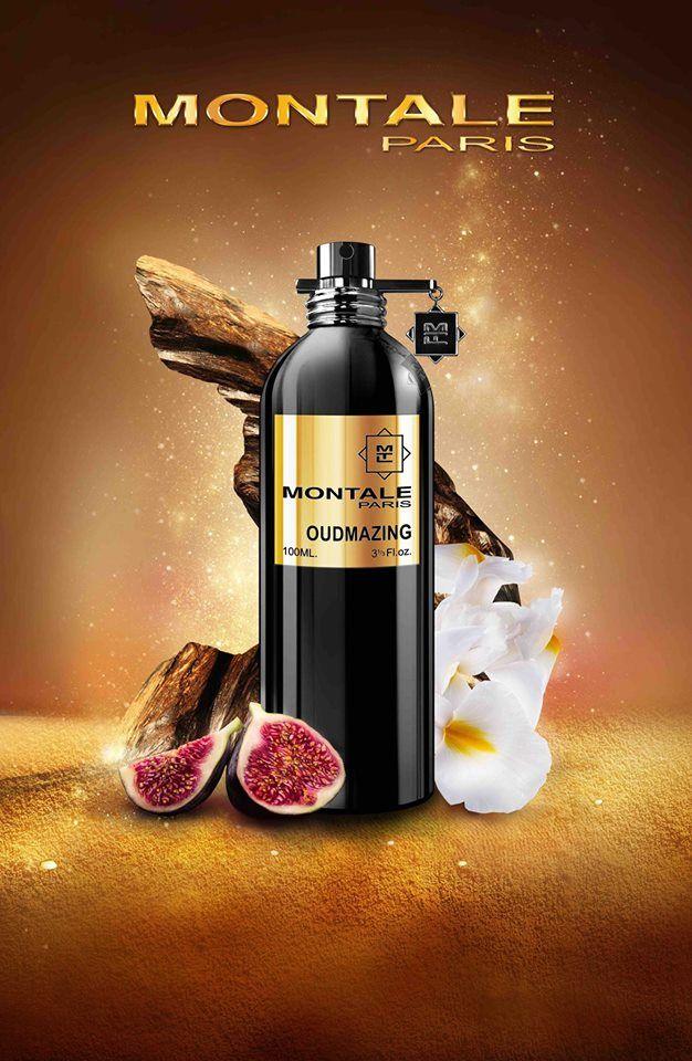 Oudmazing  MONTALE   - Niesamowity oud z Malezji został połączony z soczystym duetem pomarańczy i bergamotki oraz słodką, apetyczną gruszką i śródziemnomorską figą. W sercu rozkwita zmysłowy irys, egipski jaśmin oraz paczula, bazę zaś rozgrzewają bogate nuty skórzane, różowe winogrona, wanilia i białe piżmo.