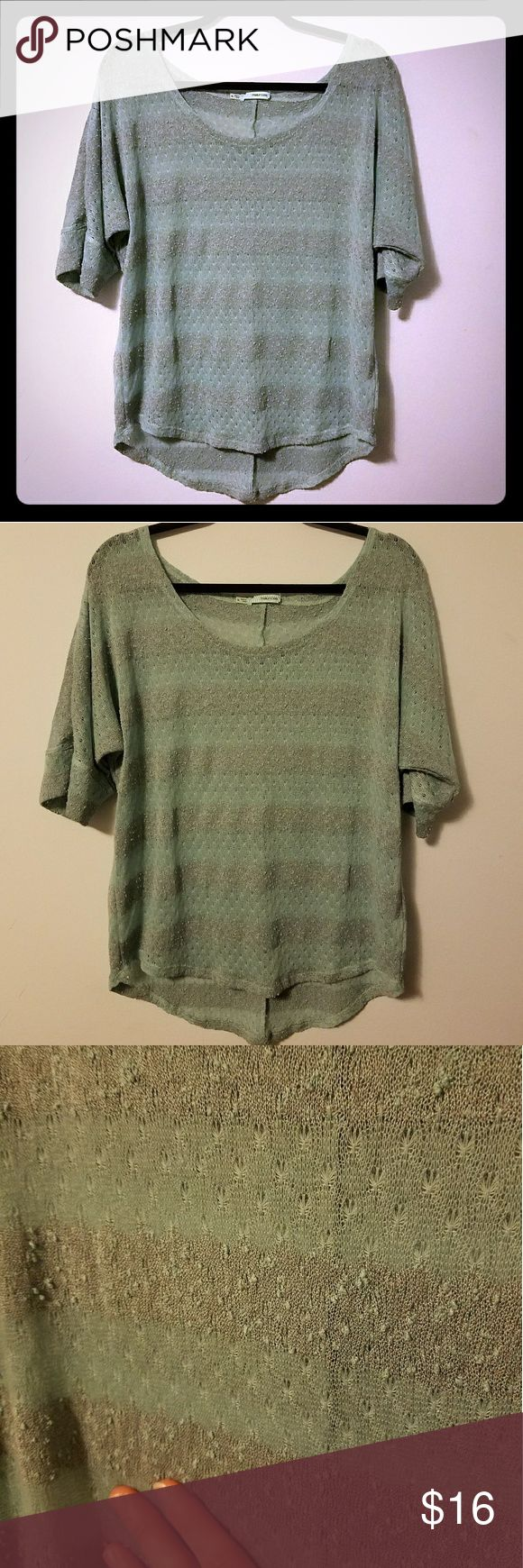 Maurices lightweight sage green sweater, sz XL This is a great sweater for transitional weather. Half sleeves. Dolman style. Sage and mint green stripes. Open knit. High low rounded hem. Scoop neck. Very airy and flowy cut, which is very flattering and flirtatious. Super comfortable. Looks beautiful with grey green eyes!!! Must be worn over something. Great weekend errand top. Size XL, fits TTS and could work for a large to an XXL, depending on how loose you prefer your sweaters. No stains…