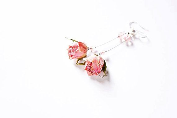 English garden rose jewelry Boho Dangle rose by ArtOreCrafts