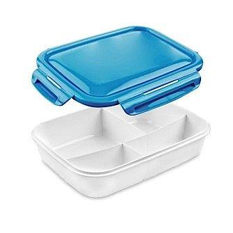 Contenedor Alimentos Kuken Azul CONTENEDOR ALIMENTOS KUKEN 1,50 l. AZUL INTERIOR PLÁSTICO, 4 COMPARTIMIENTOS. APTO PARA MICROONDAS