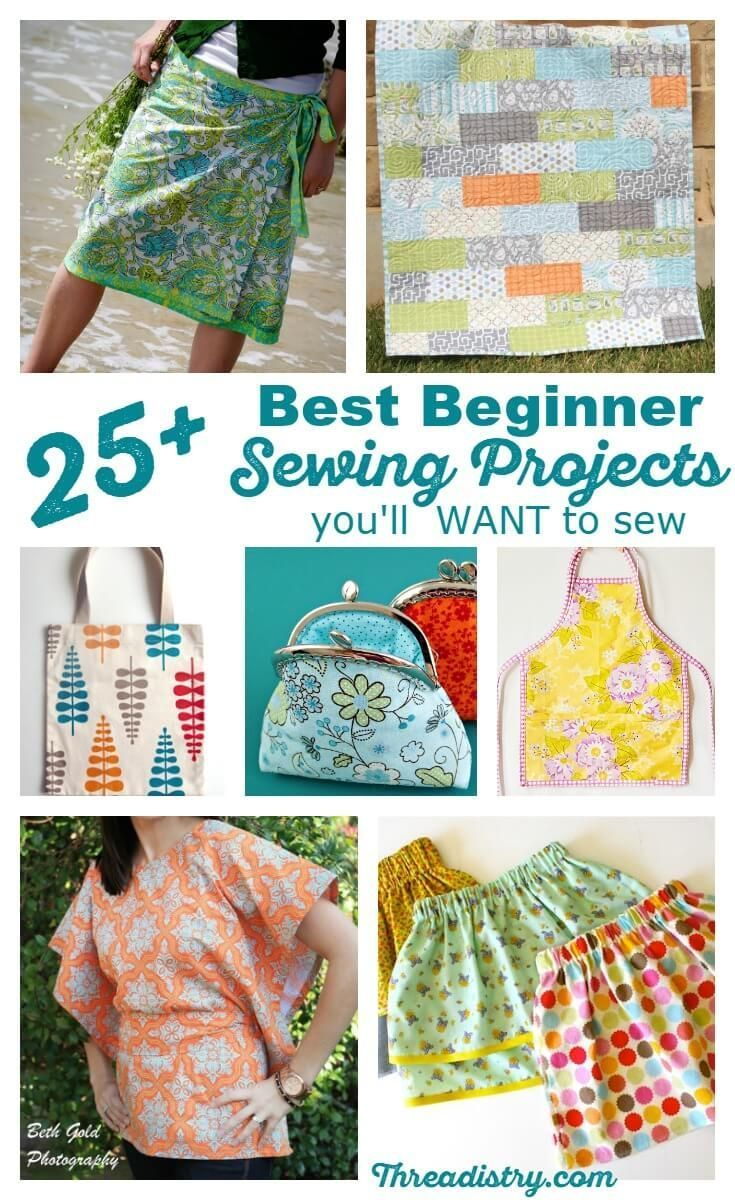 Best beginner sewing projects. Just because you've never sewn a seam, your first sewing projects don't have to be boring. Find the perfect beginner sewing projects with this collection of patterns and tutorials. Clothing, accessories, quilts, bags and projects for home - there's something for everybody!