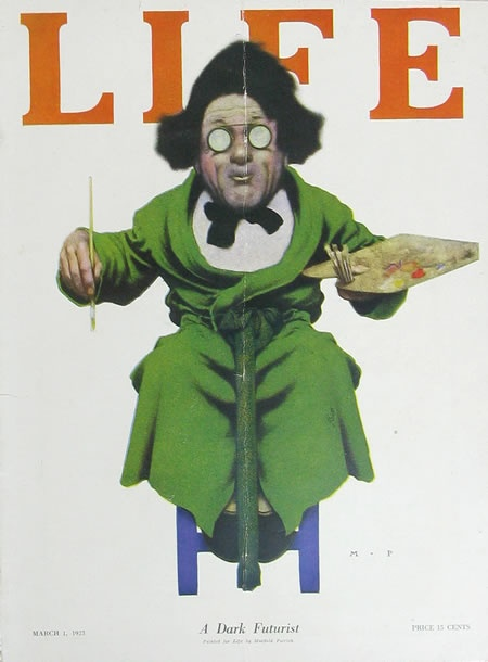 """cMag046 - Life Magazine cover by Maxfield Parrish """"A Dark Futurist"""" / March 1923 Issue / Nº 2104"""