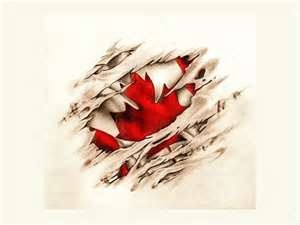 Free Designs Canadian Scratched Flag Tattoo Wallpaper