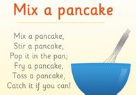 Mix a pancake - perfect for introducing bossy words in instructions