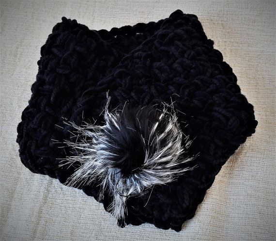 Black velvet cowl Velvet neck warmer Black crochet by MariliartbyM