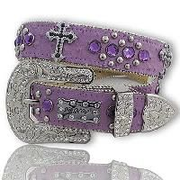 PURPLE LEATHER BLING RHINESTONE CROSS WESTERN COWGIRL BELT LARGE