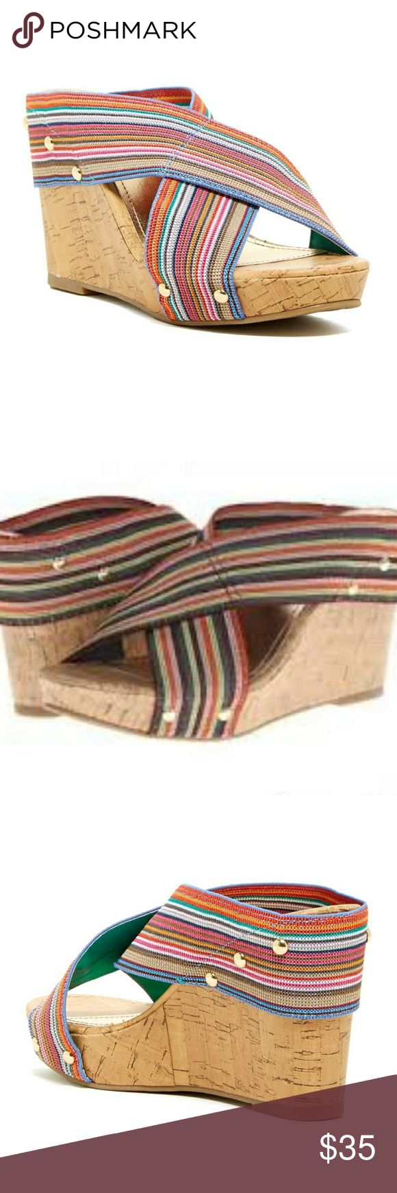 "🆕️ Madden Girl Nautic Wedges Great condition multi colored stripe Nautic wedges. Stylish wedge sandal will complete your spring/summer outfit and with the multi colors will go with almost anything in your wardrobe. Approx.* 4"" wedge heel. Gold studs rivets. Worn maybe twice. Madden Girl Shoes Wedges"