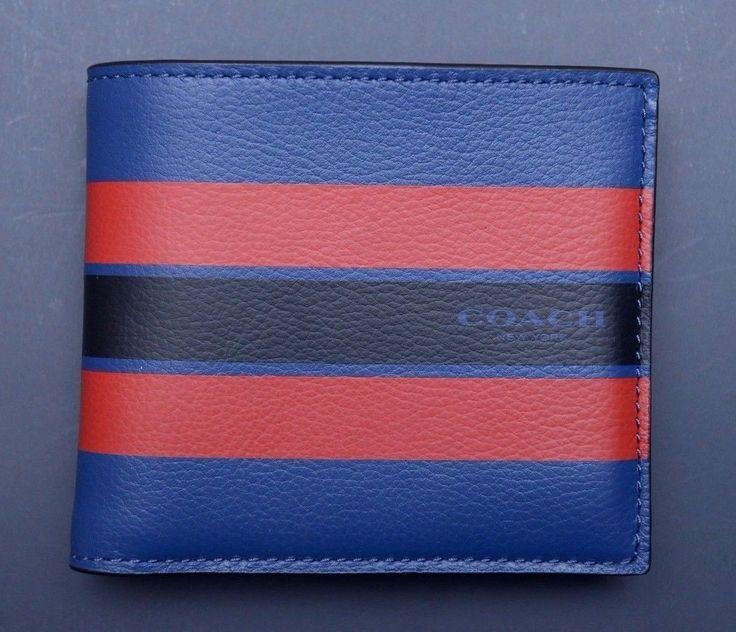 NWT Coach Men's $150 Blue Double Bill Varsity Leather Billfold Wallet F58349