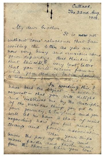 Letter from Subhas Bose to Sarat Bose at the age of 15