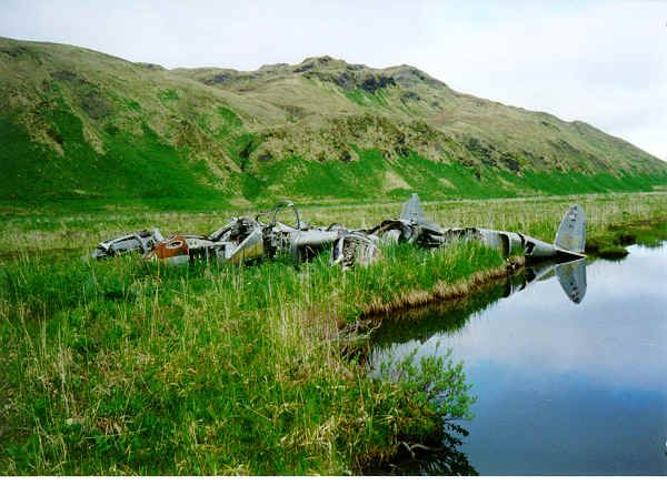 An abandoned P-38 that apparently crashed in WWII during either the time it based on Attu or during the retaking of Attu Island from the Japanese - Attu, AK