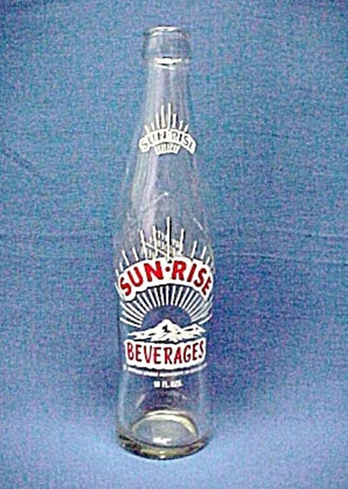 Vintage USA SUNRISE BEVERAGES 10 OZ CLEAR GLASS SODA BOTTLE SUN-RISE INC $10.99 plus $5.99 ship